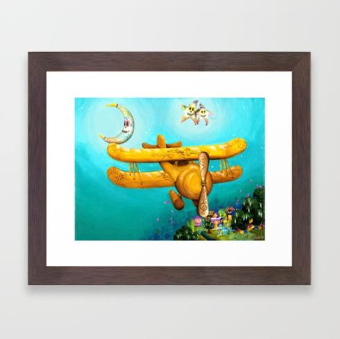 Dia De Los Muertos Biplane - framed PNG